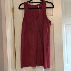 Free People Suede Red Jumper Dress XS